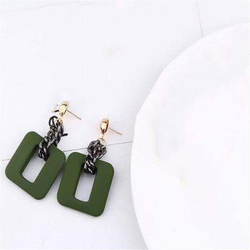Fashion Resin Chain Drop Earrings For Women - GRAYISH TURQUOISE