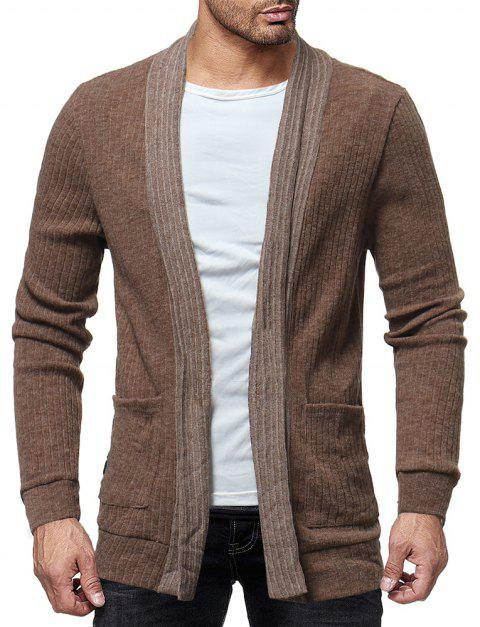 Trendy Solide Couleur Simple Casual Cardigan pour les hommes Veste Slim sauvage Top - Marron Camel L