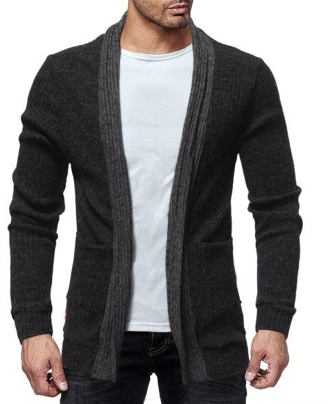 Men's Trend Solid Color Simple Casual Cardigan Fashion Wild Slim Jacket Top - BLACK 3XL