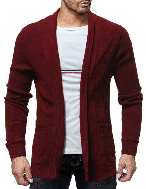 Men's Trend Solid Color Simple Casual Cardigan Fashion Wild Slim Jacket Top - RED WINE 2XL