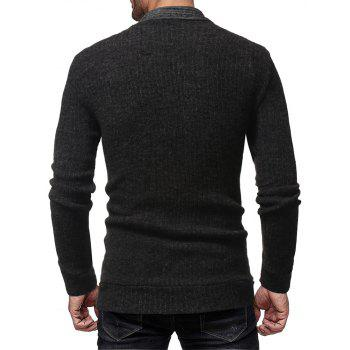 Men's Trend Solid Color Simple Casual Cardigan Fashion Wild Slim Jacket Top - BLACK XL