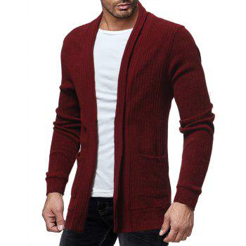 Men's Trend Solid Color Simple Casual Cardigan Fashion Wild Slim Jacket Top - RED WINE XL