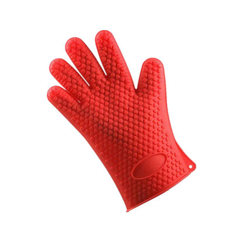 Silicone Gloves Kitchen Baking Anti-Scalding Insulation High Temperature 1PCS - RED