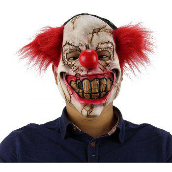 YEDUO Horror Holloween Latex Clown Mask Adult with Red Hair Killer Party - RED