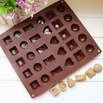 Square Soft Silicone Heart Round Chocolate Mold Ice Cube Tray Jelly Candy Mould - BROWN