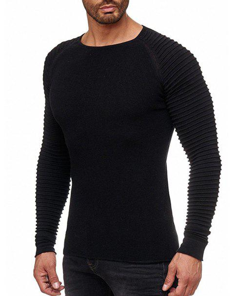 Men's Solid Color Knit Crewneck Sweater Pullover - BLACK M