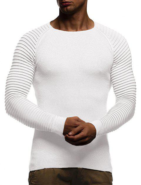Men's Solid Color Knit Crewneck Sweater Pullover - WHITE M