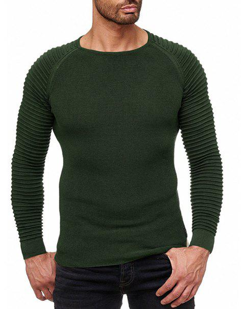 Men's Solid Color Knit Crewneck Sweater Pullover - ARMY GREEN M