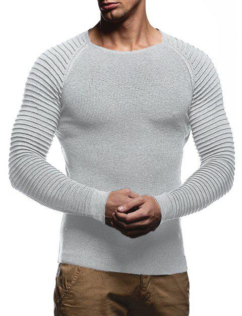 Men's Solid Color Knit Crewneck Sweater Pullover - LIGHT GRAY L