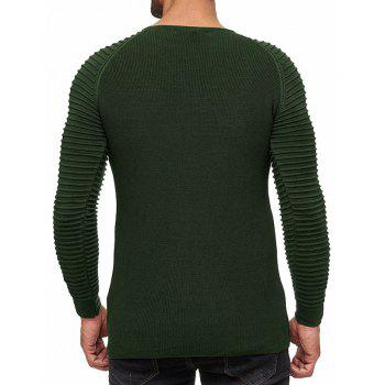 Men's Solid Color Knit Crewneck Sweater Pullover - ARMY GREEN L