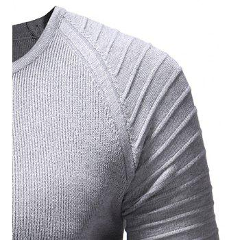 Men's Solid Color Knit Crewneck Sweater Pullover - LIGHT GRAY XL