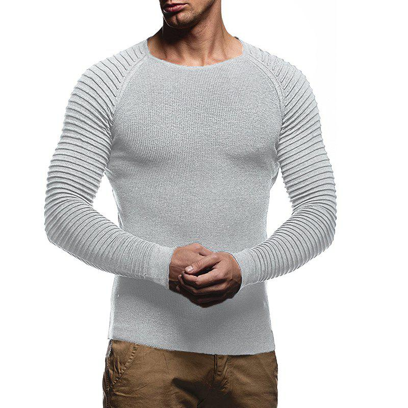 Men's Solid Color Knit Crewneck Sweater Pullover - LIGHT GRAY M