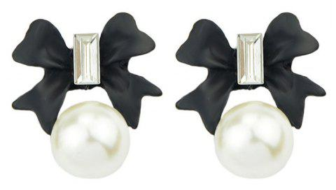 Lovely Gemstone Bowknot Shape Bead Earrings - BLACK