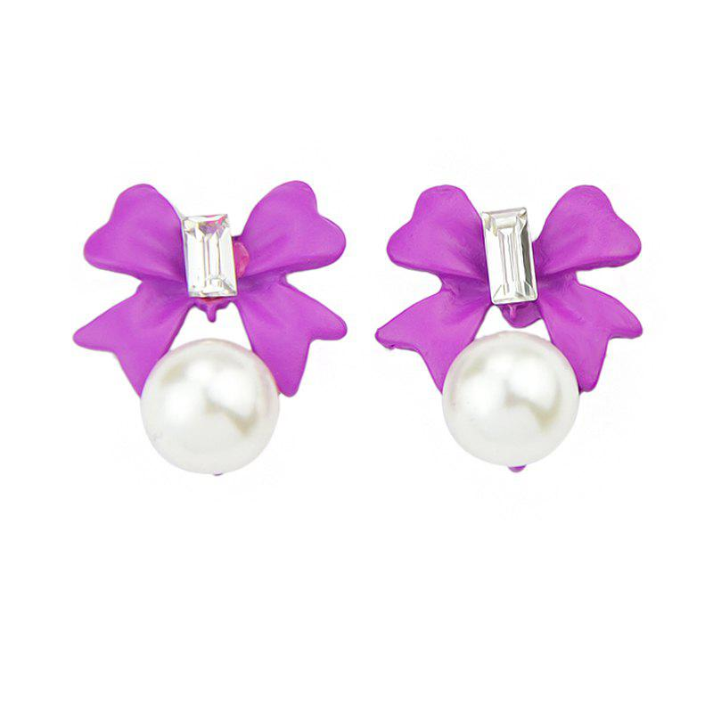 Lovely Gemstone Bowknot Shape Bead Earrings - HELIOTROPE PURPLE