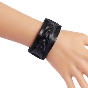 Fashion Jewelry with Double Braided Cowhide Bracelet - BLACK