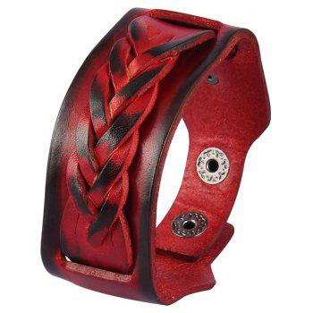 Fashion Jewelry with Double Braided Cowhide Bracelet - RED