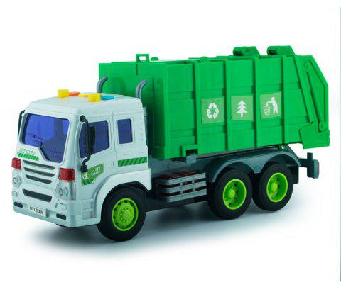 Friction Powered Garbage Truck Toy with Lights and Sounds for Kids - STOPLIGHT GO GREEN