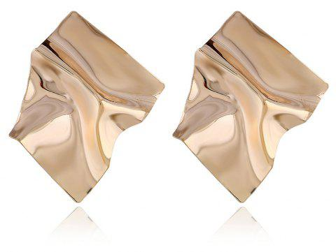 Exaggerated Wrinkle Original Punk Style Simple Metal Earrings - GOLD