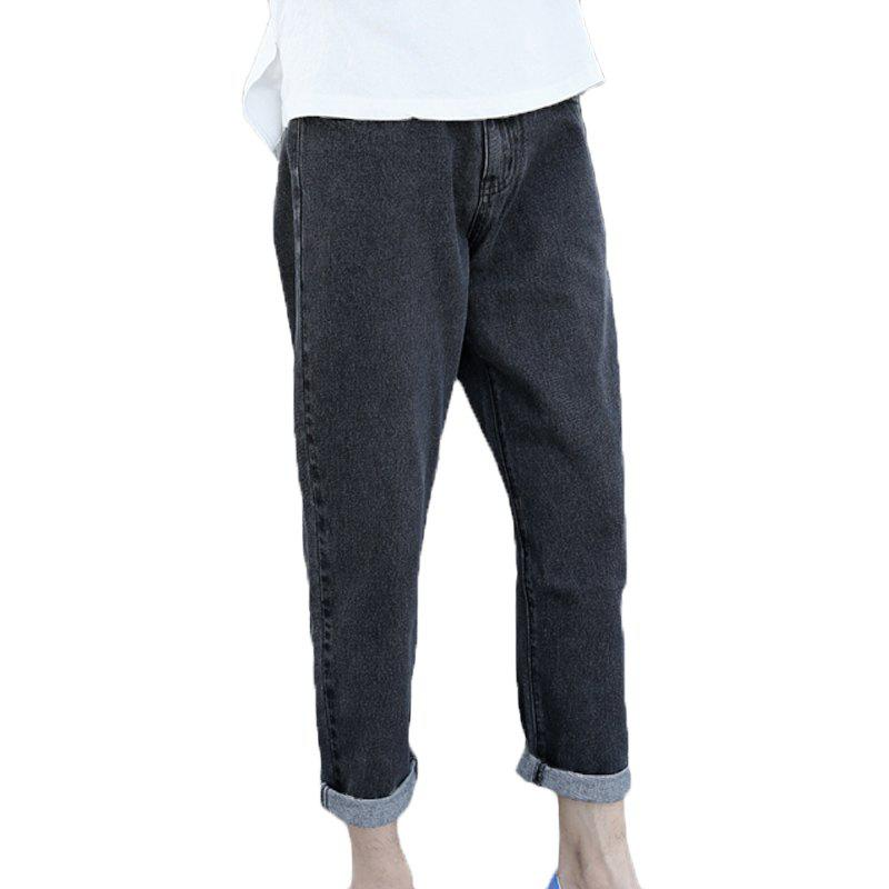 Men's Fashion Baggy Jeans - BLACK 32