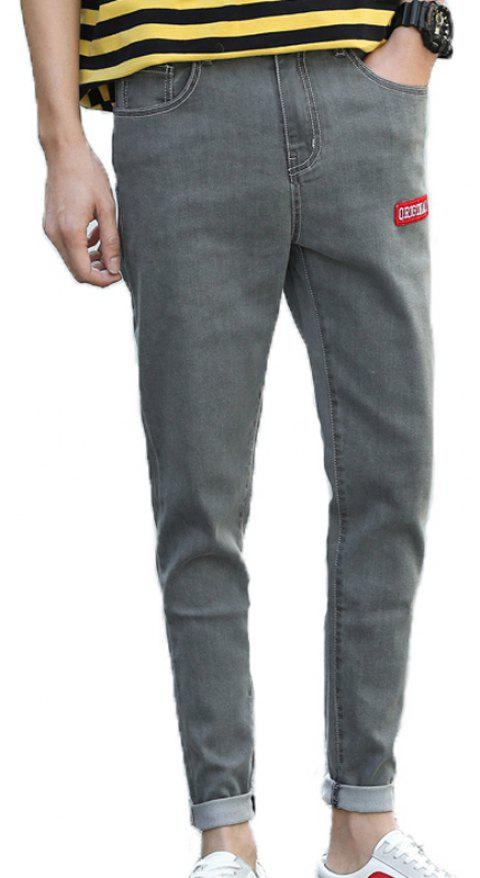 Men's Casual Stretch Jeans - GRAY 36