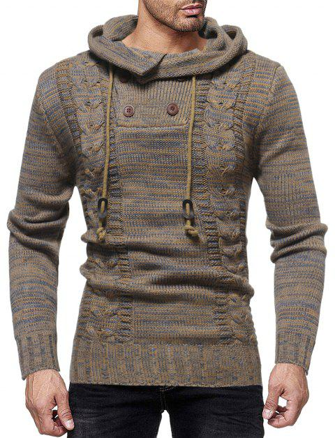 Men's Fashion Personality Neckline Button Decoration Trend Knit Hooded Sweater - CAMEL BROWN L