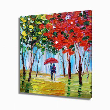 STYLEDECOR Modern Hand Painted Knife Painting Pedestrian Under the Tree - multicolor 32 X 32 INCH (80CM X 80CM)