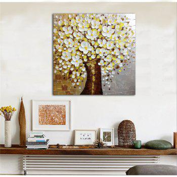 STYLEDECOR Modern Hand Painted Knife Painting White Flowers Tree Oil Painting - multicolor 28 X 28 INCH (70CM X 70CM)