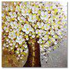 STYLEDECOR Modern Hand Painted Knife Painting White Flowers Tree Oil Painting - multicolor 23 X 23 INCH (60CM X 60CM)