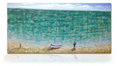 STYLEDECOR Modern Hand Painted Abstract The Beach Lovers Oil Painting on Canvas - multicolor 18 X 36 INCH (45CM X 90CM)