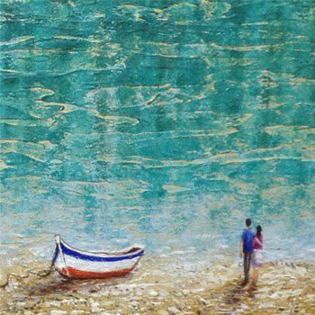 STYLEDECOR Modern Hand Painted Abstract The Beach Lovers Oil Painting on Canvas - multicolor 24 X 48 INCH (60CM X 120CM)