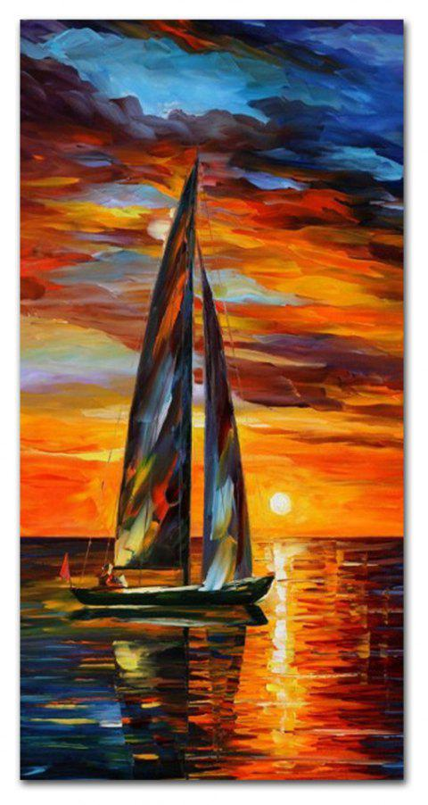 STYLEDECOR Modern Hand Painted Sunset on the Sea Oil Painting on Canvas - multicolor 24 X 48 INCH (60CM X 120CM)