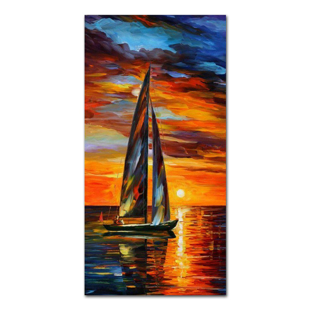 STYLEDECOR Modern Hand Painted Sunset on the Sea Oil Painting on Canvas - multicolor 39 X 19 INCH (100CM X 50CM)