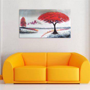 STYLEDECOR Modern Hand Painted Abstract Red Leaves Tree Beside The River - multicolor 39 X 19 INCH (100CM X 50CM)