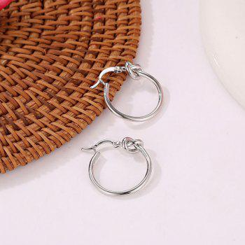 Fashion Simple Sweet Character Knot Exquisite Circle Earring Accessories - SILVER