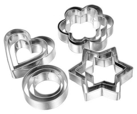 12PCS Stainless Steel Biscuit Mould DIY Fondant Cake Kitchen Baking Tool - SILVER