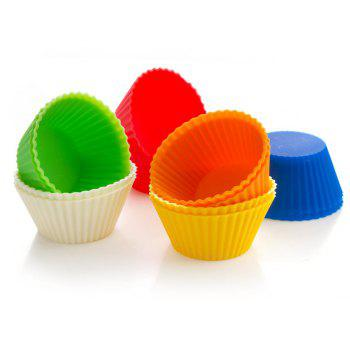 Round Silicone Baking High Temperature Cake Mould 9PCS - multicolor A