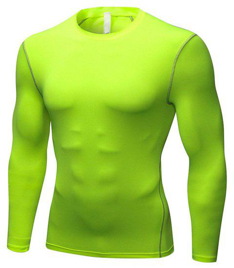 Men's Training Sports Fitness Running Quick Drying Long Sleeve T-Shirt - GREEN L