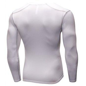 Men's Training Sports Fitness Running Quick Drying Long Sleeve T-Shirt - WHITE L