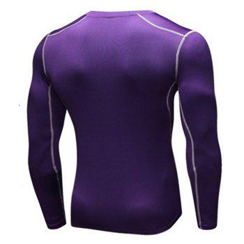 Men's Training Sports Fitness Running Quick Drying Long Sleeve T-Shirt - PURPLE 3XL