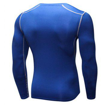 Men's Training Sports Fitness Running Quick Drying Long Sleeve T-Shirt - BLUE S