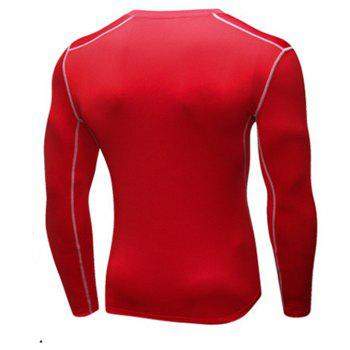 Men's Training Sports Fitness Running Quick Drying Long Sleeve T-Shirt - RED M
