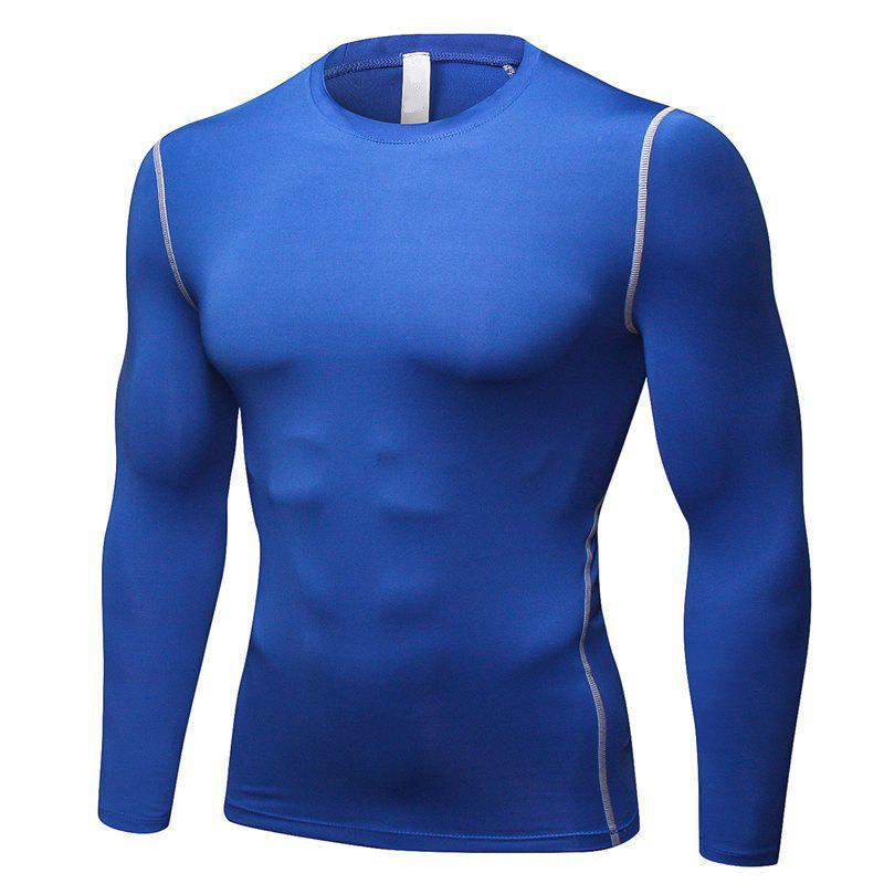 Men's Training Sports Fitness Running Quick Drying Long Sleeve T-Shirt - BLUE L