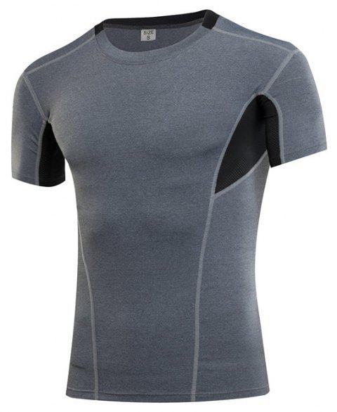 Men's Sports Fitness Running Quick-drying Short Sleeve T-Shirt - GRAY S