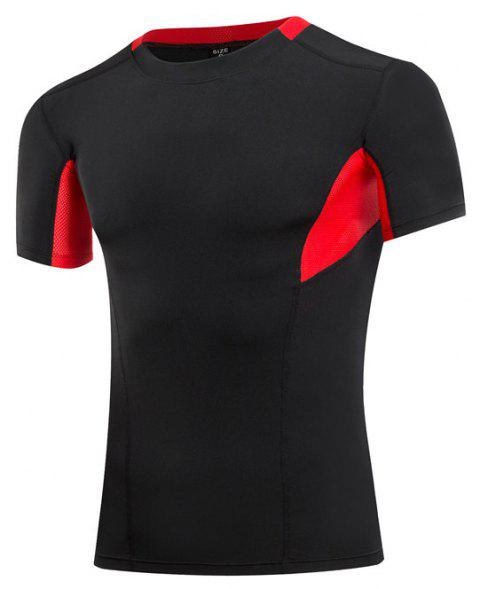 Men's Sports Fitness Running Quick-drying Short Sleeve T-Shirt - BLACK S