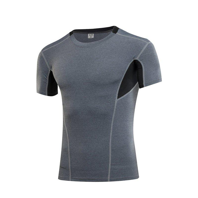 Men's Sports Fitness Running Quick-drying Short Sleeve T-Shirt - GRAY 3XL