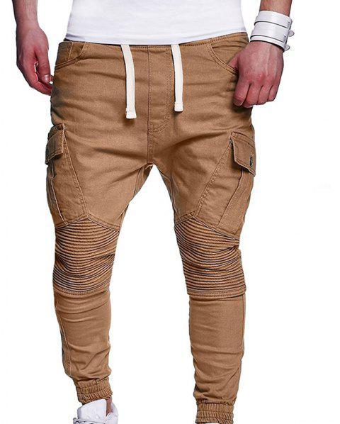 Men's Fashion Solid Color Pleated Tether Belt Harem Casual Feet Pants - LIGHT KHAKI 3XL