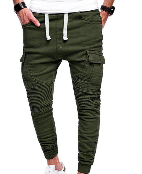 Men's Fashion Solid Color Pleated Tether Belt Harem Casual Feet Pants - ARMY GREEN M