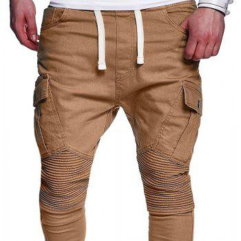 Men's Fashion Solid Color Pleated Tether Belt Harem Casual Feet Pants - LIGHT KHAKI XL