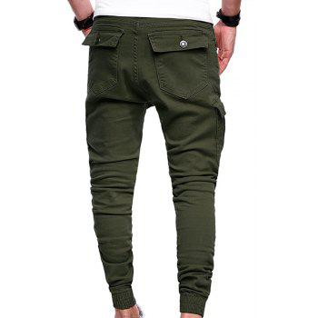 Men's Fashion Solid Color Pleated Tether Belt Harem Casual Feet Pants - ARMY GREEN 3XL