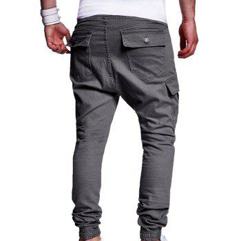 Men's Fashion Solid Color Pleated Tether Belt Harem Casual Feet Pants - GRAY L